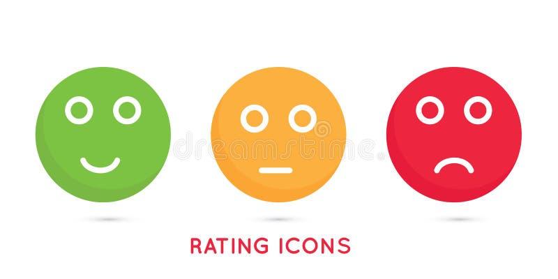 满意的率的Emoji象 色的图标 是隔绝和在白色背景的没有例证 皇族释放例证