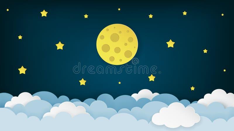 满月、星和云彩在黑暗的午夜天空背景 夜空风景背景 纸艺术样式 皇族释放例证