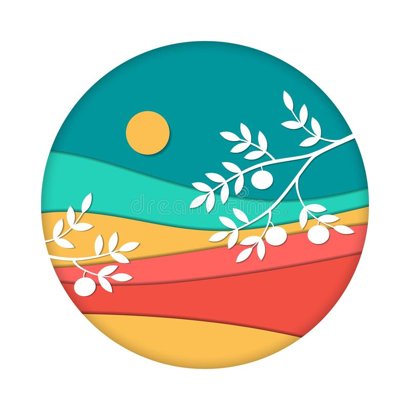 满月和柿树 中间背景的秋天节日Chuseok纸艺术样式 秋天前夕韩国庆祝 向量例证