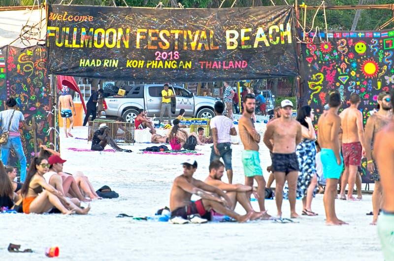 满月在pha-nang海岛的党海滩 免版税库存照片