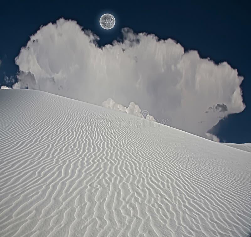 满月铺沙白色 库存图片