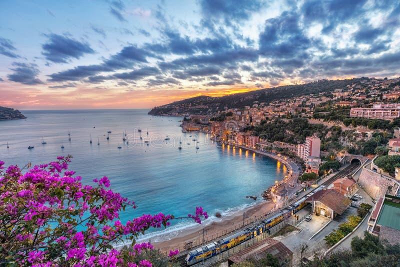 滨海自由城,法国鸟瞰图日落的 免版税库存图片