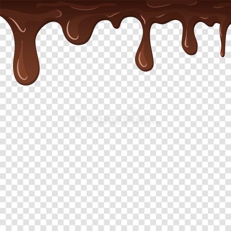 滴下的巧克力 滴下巧克力,被隔绝的白色透明背景 融解流动甜点心 鲜美飞溅 库存例证