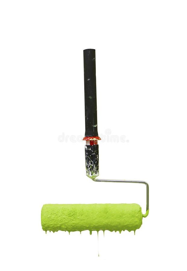滴下的绿色漆滚筒 图库摄影