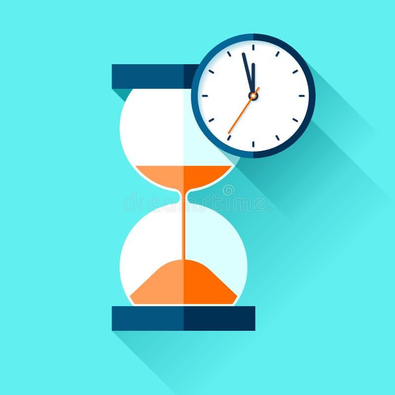 滴漏和模式时钟象在平的样式,sandglass定时器在颜色背景 传染媒介您的设计元素项目 向量例证