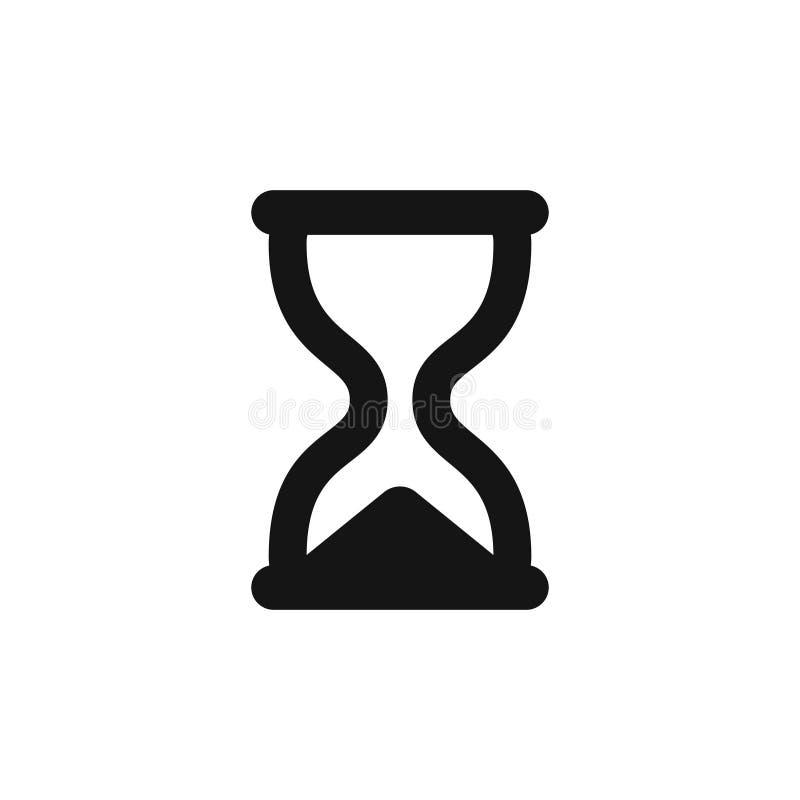 滴漏象简单的黑sandglass标志 皇族释放例证