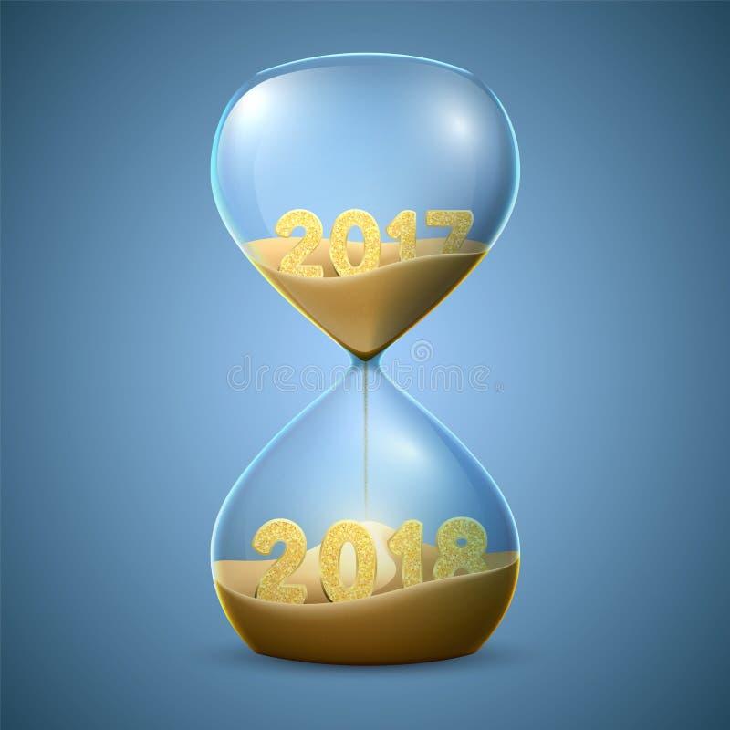 滴漏 新年转折的` s概念从2017年到2018年 库存例证