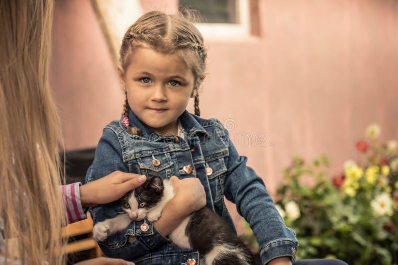 漂亮的孩子举行宠物小猫概念动物护养的孩子女孩 免版税库存图片