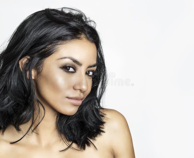 漂亮的黑发少女脸 库存图片