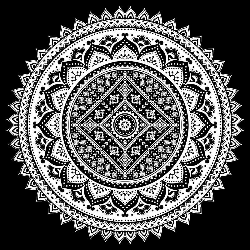 漂泊印地安坛场印刷品 葡萄酒无刺指甲花纹身花刺样式 库存例证