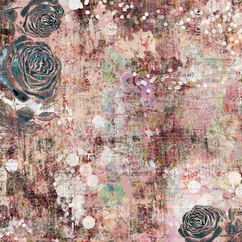 漂泊吉普赛花卉古色古香的与玫瑰的葡萄酒脏的破旧的别致的艺术性的抽象图解背景 免版税库存照片
