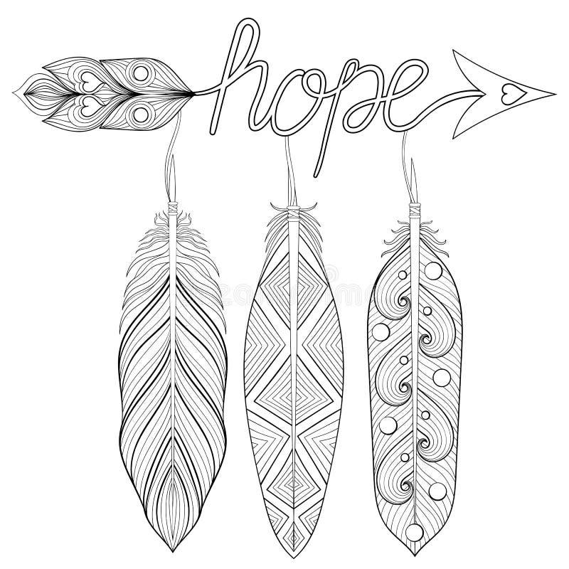 漂泊箭头,与信件的手拉的护身符希望,与feathe 向量例证