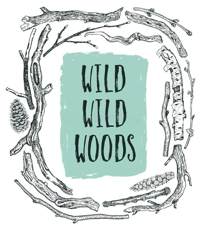 漂流木头狂放的狂放的森林框架速写样式手图画 库存例证