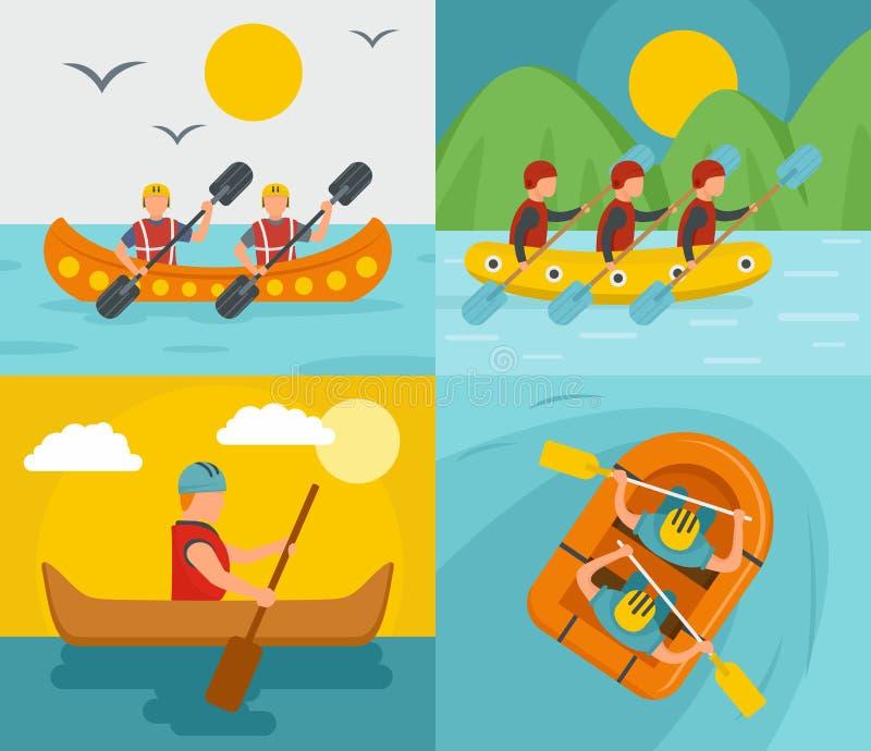 漂流皮船独木舟横幅概念集合,平的样式 库存例证