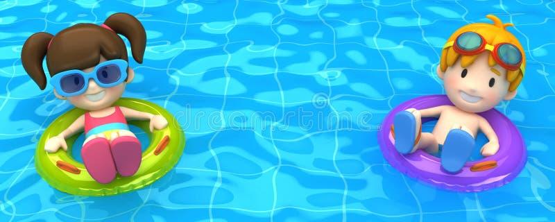 漂浮与可膨胀的圆环的孩子 库存例证