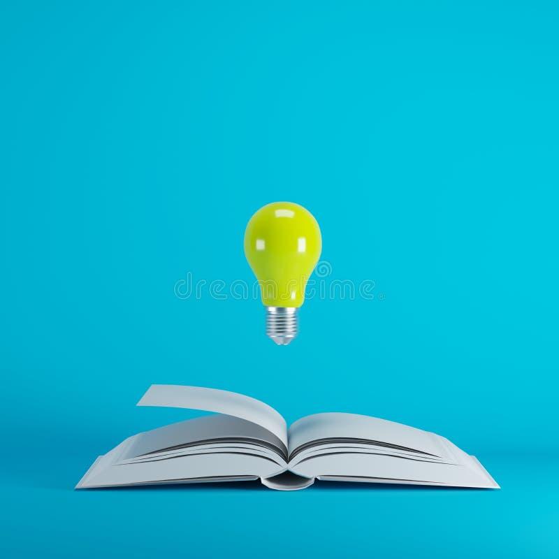 漂浮从在蓝色背景的被打开的白皮书的黄灯电灯泡 库存例证