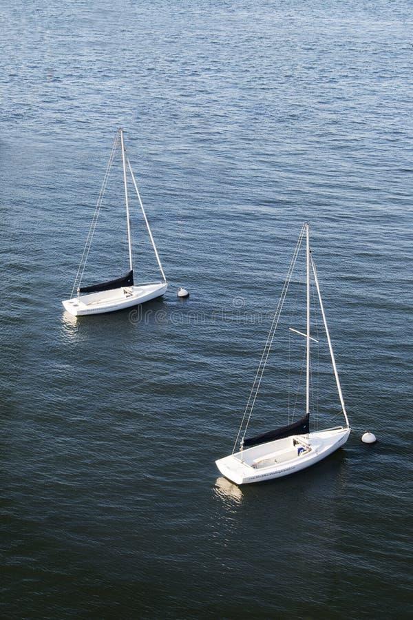 漂浮在一个港口的两条风船在波士顿,马萨诸塞 图库摄影