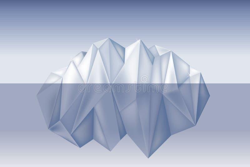 漂浮在与水下的部分传染媒介例证低多样式的水波的大冰山 库存照片