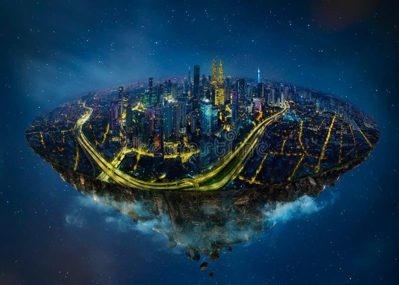 漂浮在与现代城市地平线的天空中的幻想海岛 库存例证