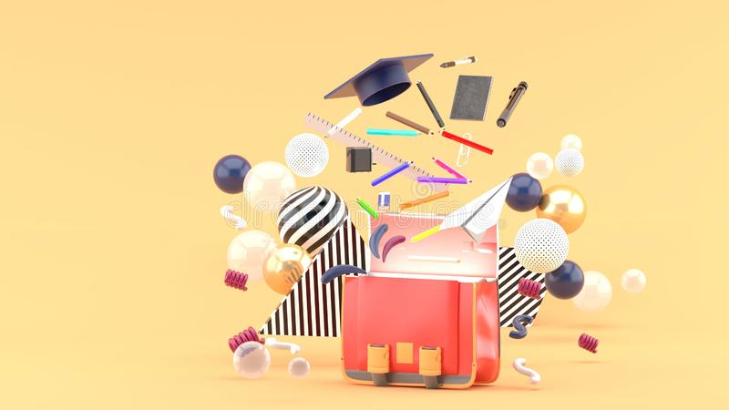 漂浮在五颜六色的球中的一个书包外面的学校用品在橙色背景 库存图片