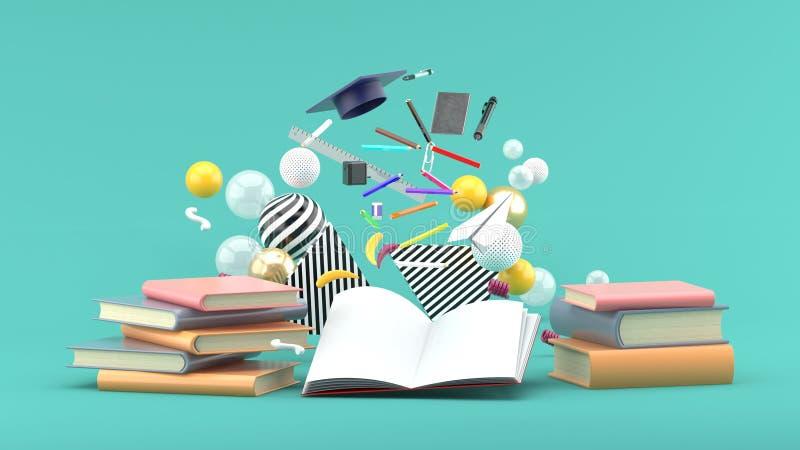 漂浮在五颜六色的球中的一本书外面的学校用品在绿色背景 免版税库存照片