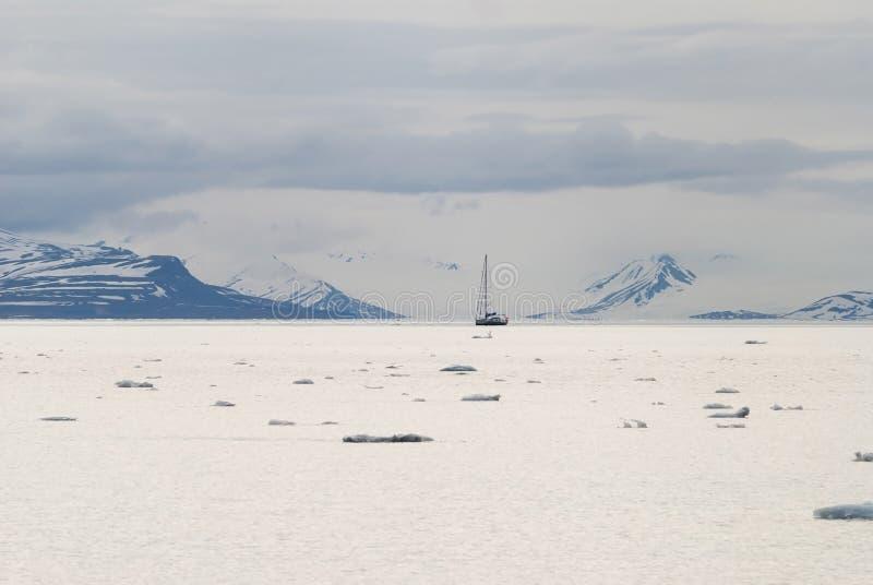 漂浮在北极海的冰山在斯瓦尔巴特群岛 库存图片