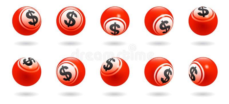 漂浮在另外角度的传染媒介红色美元的符号球与阴影 皇族释放例证