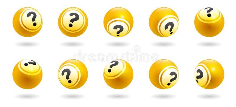 漂浮在另外角度的传染媒介黄色问号球与阴影 向量例证