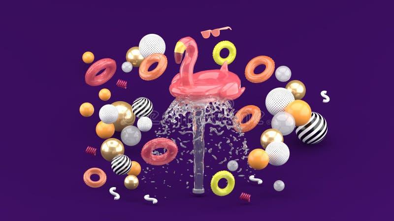 漂浮在喷泉的火鸟橡胶环围拢由在紫色背景的五颜六色的橡胶环 皇族释放例证