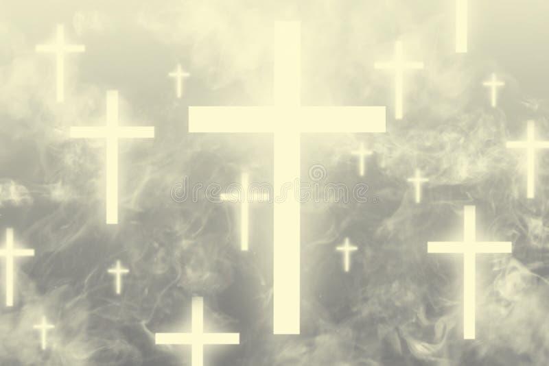 漂浮在天堂的发光的十字架包围与轻的云彩 库存照片