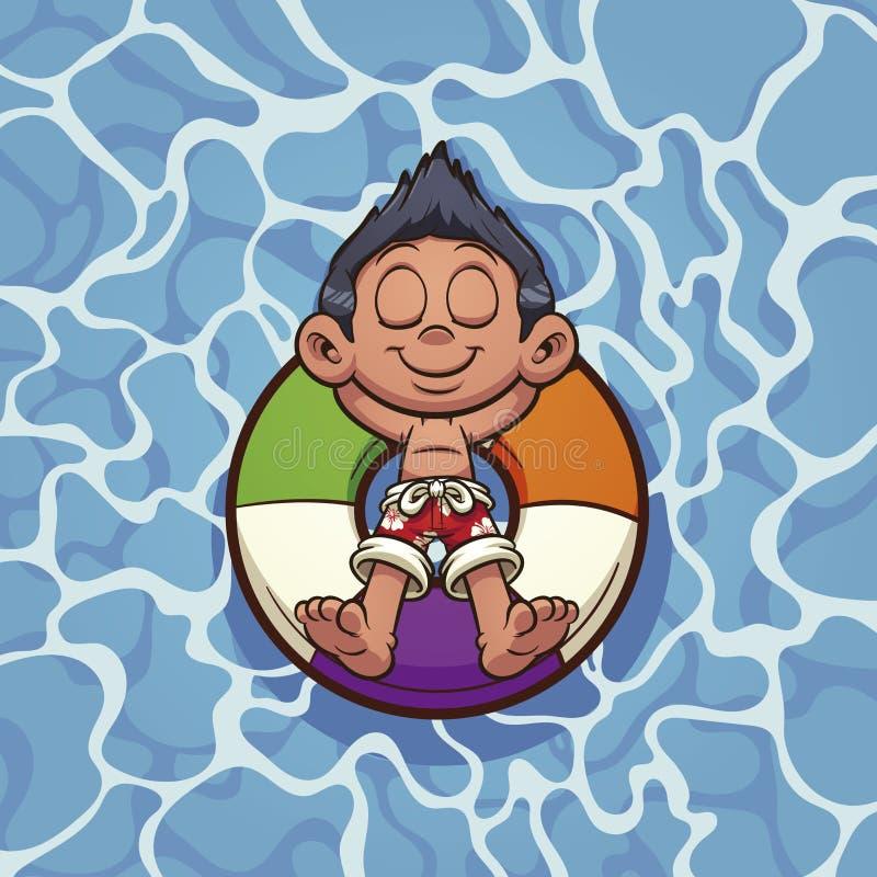 漂浮在救护设备的动画片男孩 皇族释放例证
