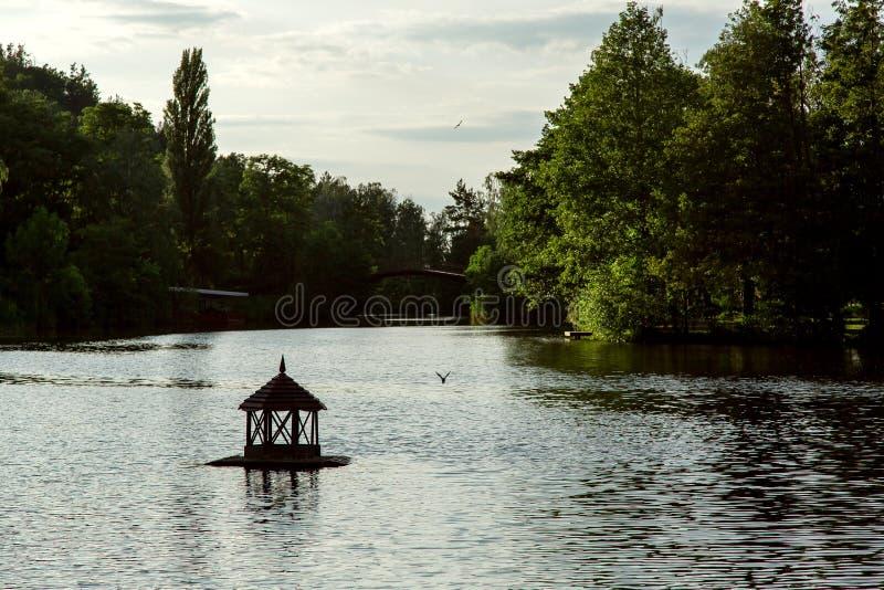 漂浮在水的鸟舍的剪影在湖 免版税库存图片