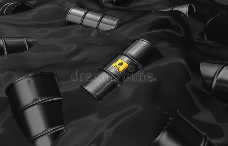 漂浮在油海的黑油桶 库存例证