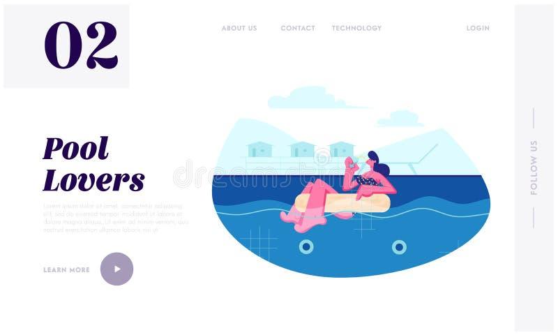 漂浮在游泳场的可膨胀的圆环和喝鸡尾酒的年轻女人,放松在手段,暑假,休闲 库存例证