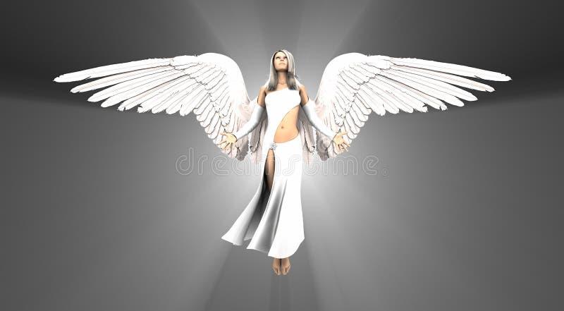 漂浮在空中的天使女人 免版税库存照片