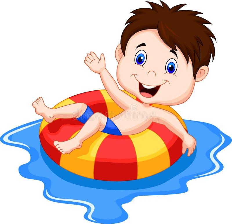 漂浮在水池的一个可膨胀的圈子的男孩动画片 库存例证