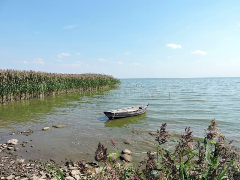 漂浮在水的木小船 库存图片