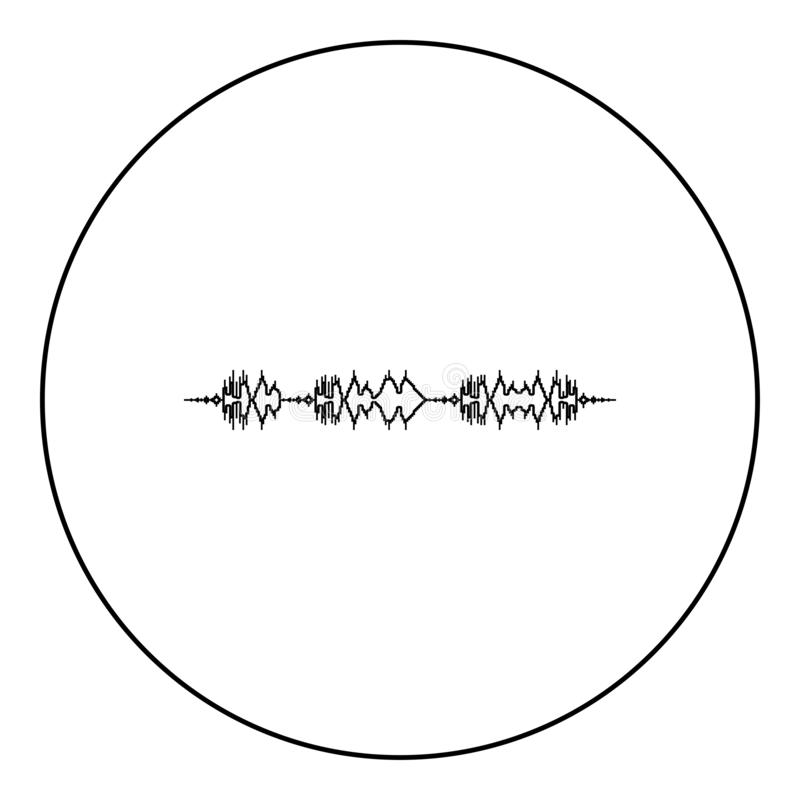 漂浮声波象在圆的圈子的电影配乐脉冲音乐播放器音频波浪调平器元素黑色颜色 皇族释放例证