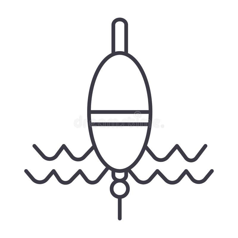 漂浮渔传染媒介线象,标志,在背景,编辑可能的冲程的例证 向量例证