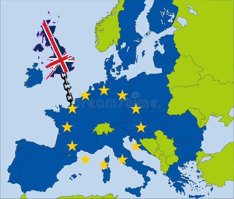 漂移从欧盟的英国 向量例证