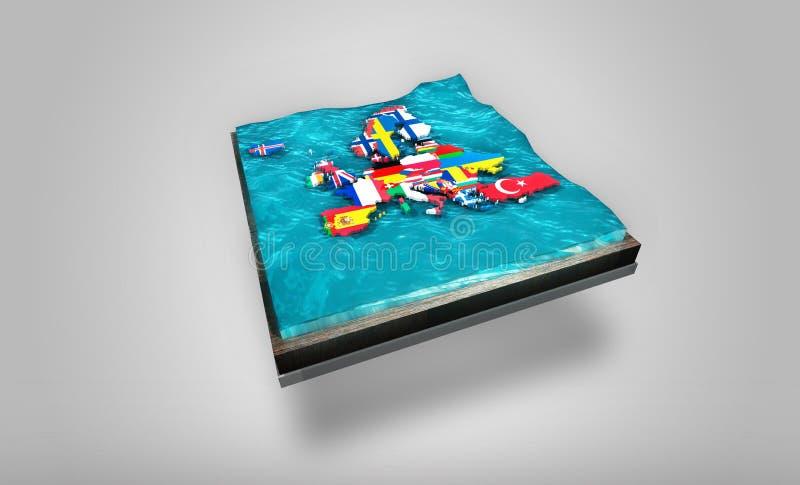 漂移在摇晃的水的欧洲3D数字式地图在3D板材-图表概念顶部 免版税库存照片