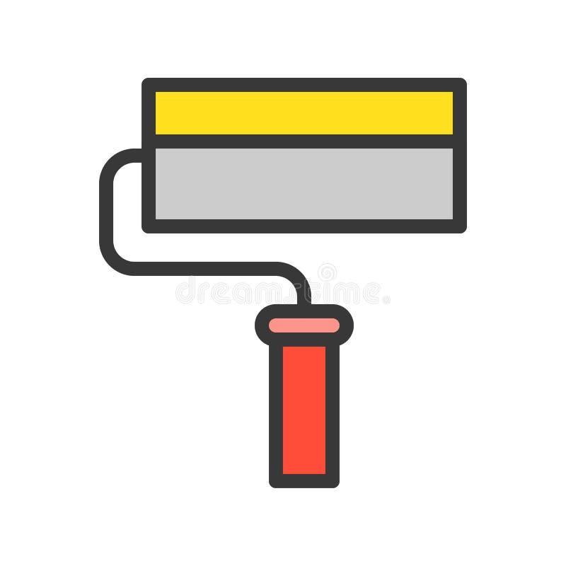 漆滚筒、被填装的概述象、木匠和杂物工工具和设备集合 库存例证