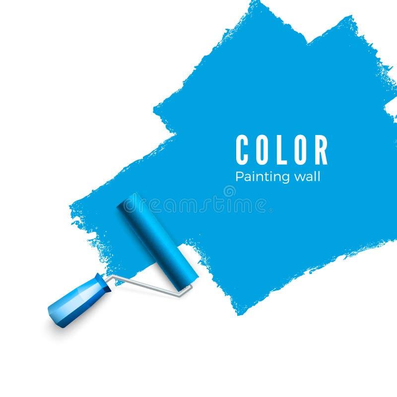漆滚筒刷子 当绘与路辗时,上色油漆纹理 绘在蓝色的墙壁 也corel凹道例证向量 皇族释放例证