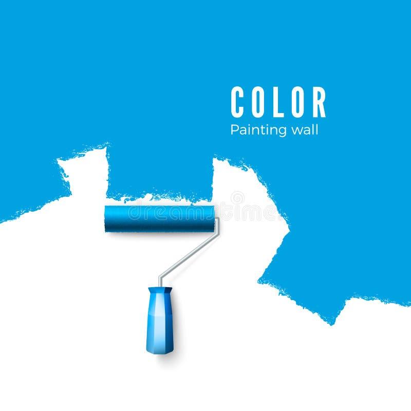 漆滚筒刷子 当绘与路辗时,绘纹理 绘在蓝色的墙壁 也corel凹道例证向量 库存例证