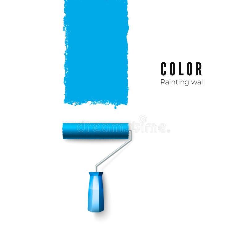 漆滚筒刷子 蓝色油漆纹理,当绘与路辗时 蝴蝶 皇族释放例证