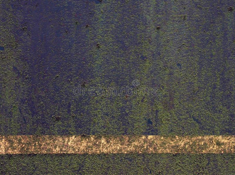 漆黑的金属表面,带着淡白的条条,上面覆盖着绿苔和绿藻 库存图片