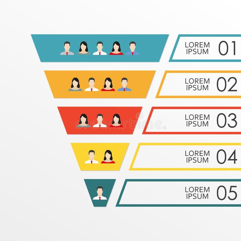 漏斗与人象的infographics模板:顾客或雇员 营销、销售或者HR漏斗概念在平的设计 Vect 库存例证