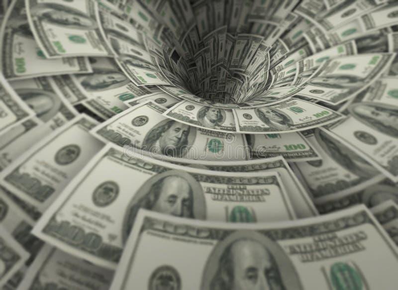 漏斗由一百美元钞票做成 向量例证