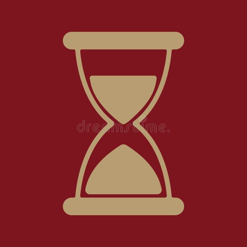 滴漏象 计时表和定时器,时钟标志 平面 皇族释放例证