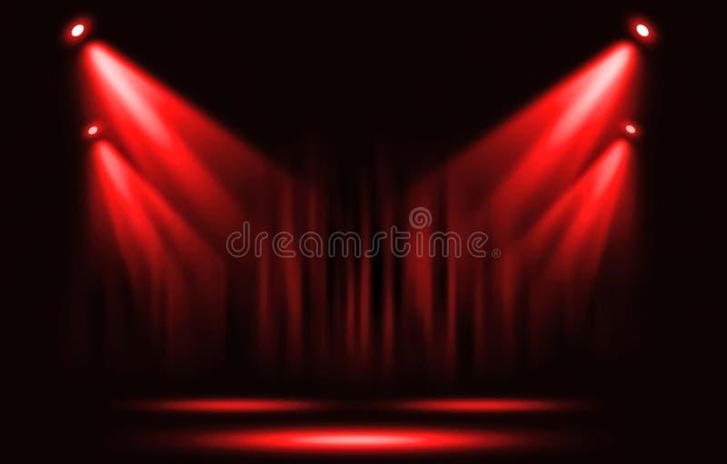 演出光 与确定红色聚光灯通过黑暗 库存例证
